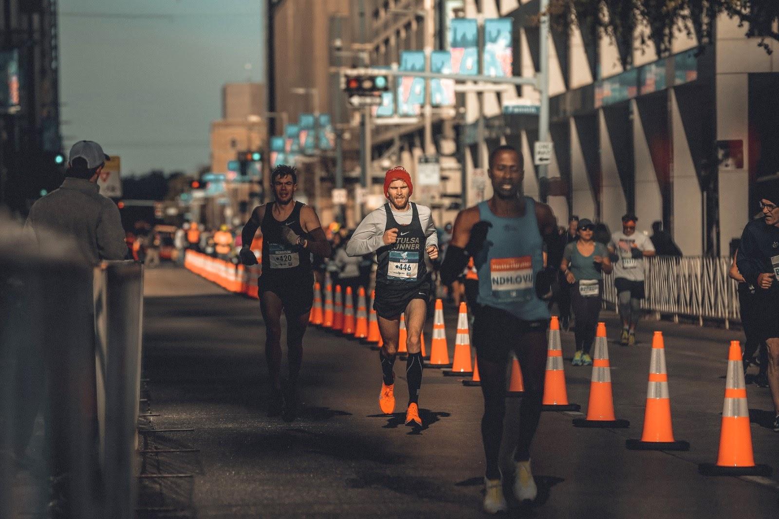 The finish at the Houston Marathon