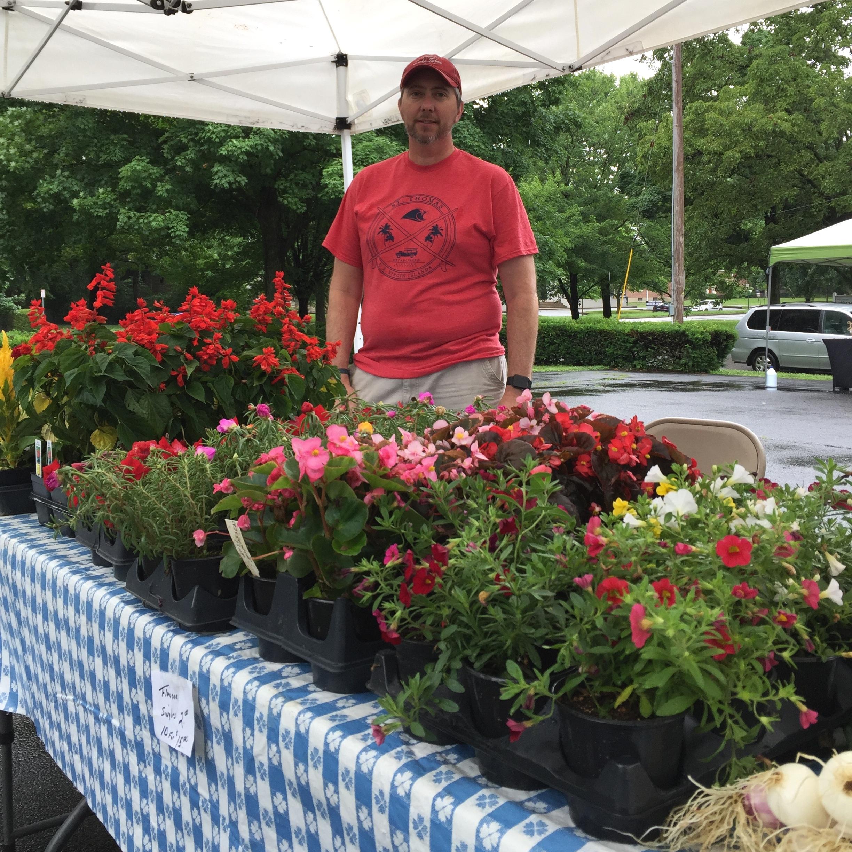 Farmer selling flowers