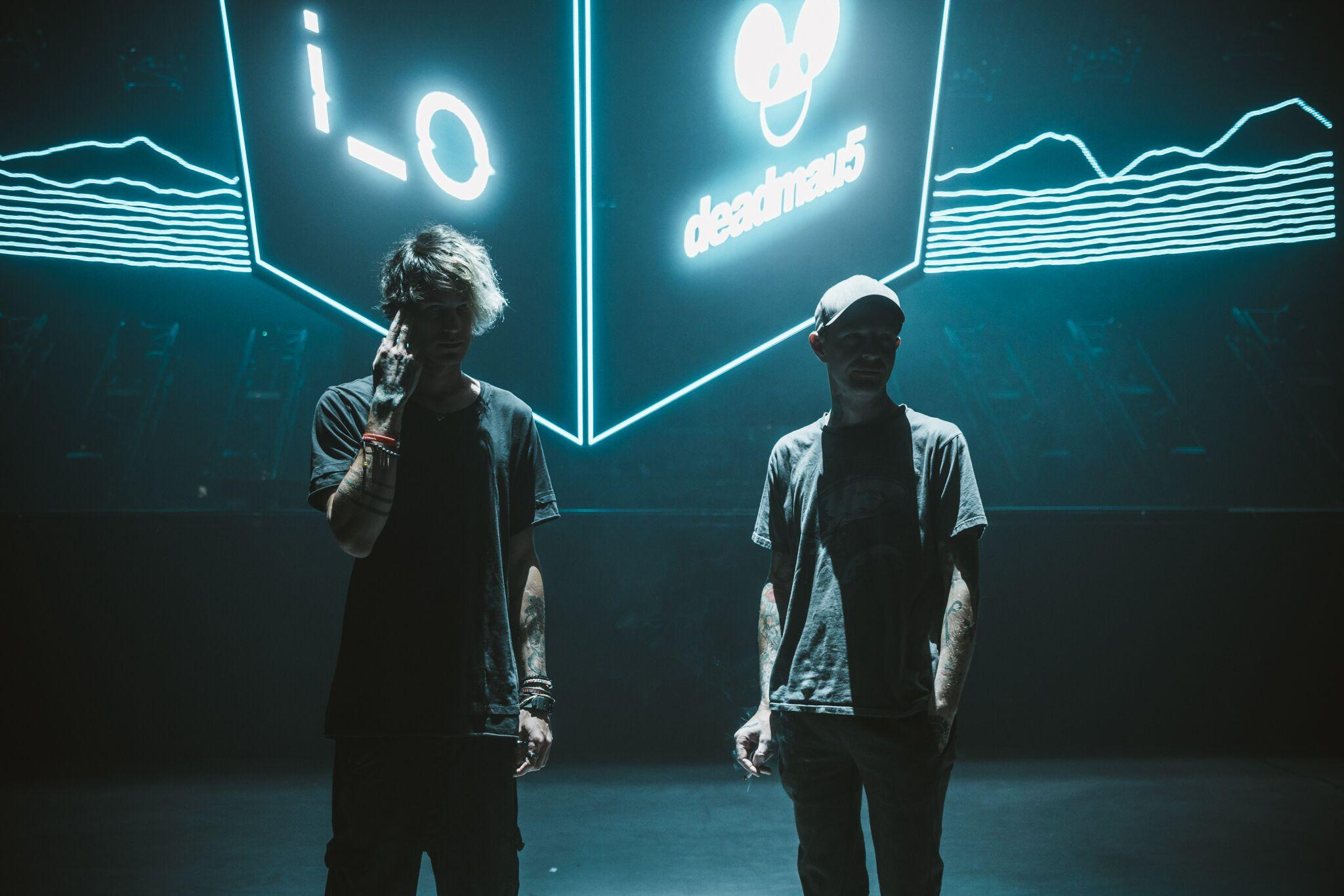i_o photographed with deadmau5 by Leah Sems at recent cubev3 tour production rehearsals in Toronto, August 2019