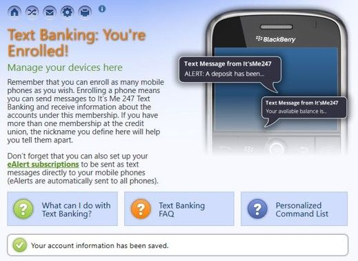 Enroll for text banking