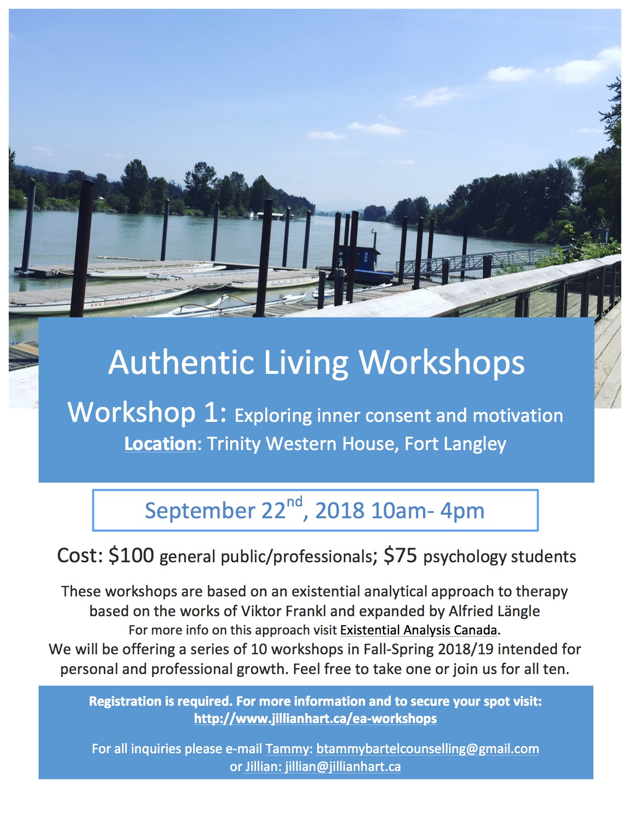 Authentic Living Workshops Spring 2019 - Existential Analysis Canada