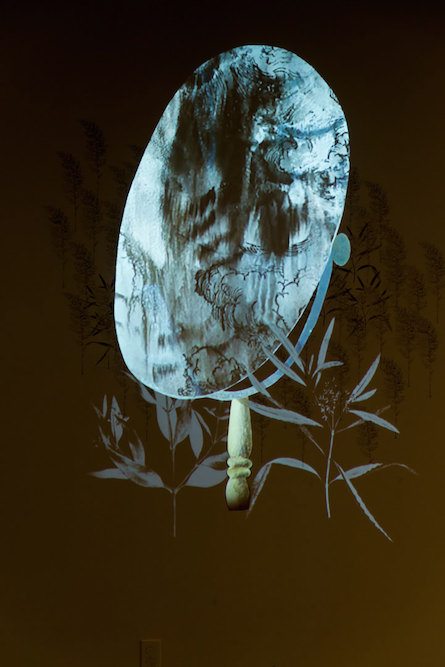 Chimera , Pasadena Museum of California Art, September 14, 2014 - January 11 , 2015. Charcoal, ink, xerox transfer, collage and projected animation on wall. Sound by Steve Roden. Post-Production Beau Leduc. Photography ©Don Milici.