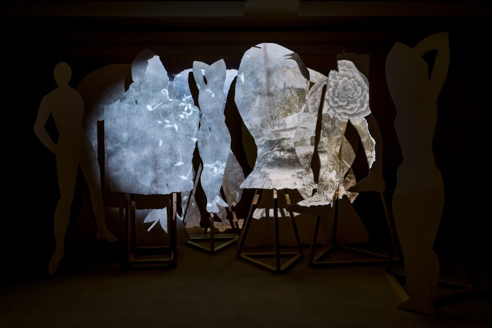 Installation view,  Skazka,  Young Projects, September 17, 2015 - Feb 15 , 2016. Projected animation on wood. Sound by Steve Roden. Post-Production Beau Leduc. Photography ©Don Milici.