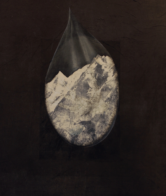 Teardrop with Mountain, 2017. Oil, crayon and monoprint on paper laid on canvas, 32 x 24 inches.