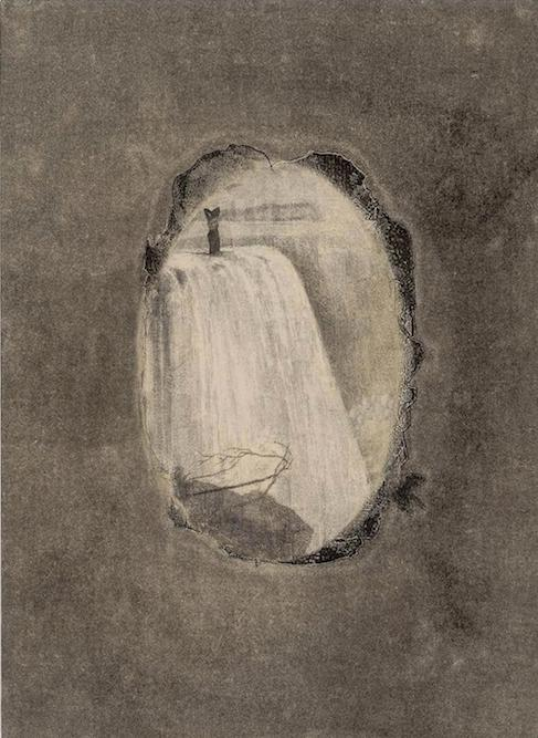 Woman with Waterfall, 2014. oil, graphite, xerox transfer and monoprint on paper on canvas, 29 1/2 x 21 1/2 inches
