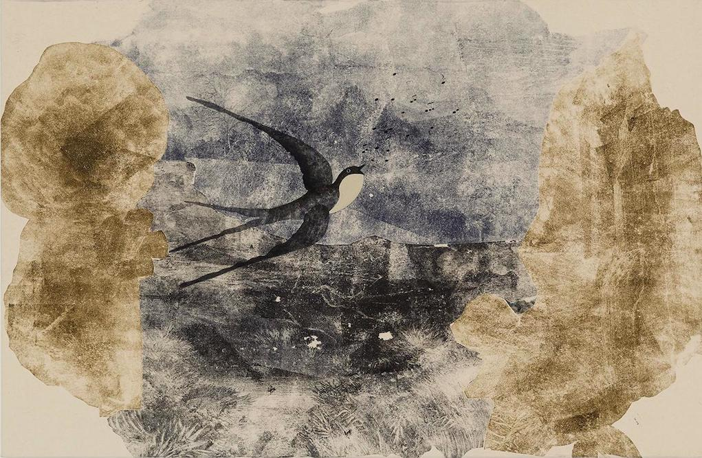 Russian Swallow, 2014. oil, ink and monoprint on paper on canvas, 23 1/2 x 36 inches