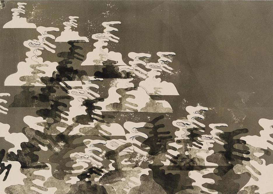 Waves, 2014. ink and monoprint on paper on canvas, 30 1/2 x 43 inches
