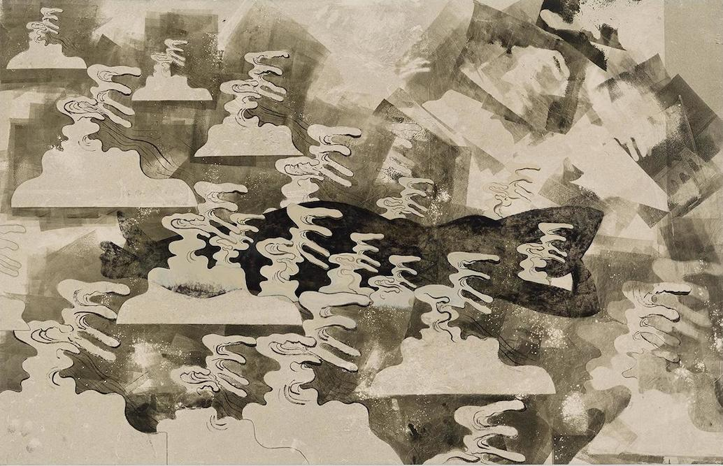 Figure with Waves, 2014. oil, ink, charcoal, xerox transfer and monoprint on paper laid on canvas, 30 x 47 1/2 inches