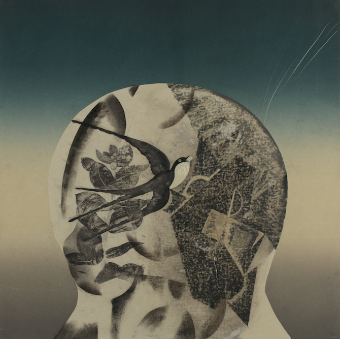 Head with Russian Bird, 2014. Oil, charcoal, xerox transfer and monoprint on paper laid on canvas, 24 x 24 inches. Private Collection Los Angeles.