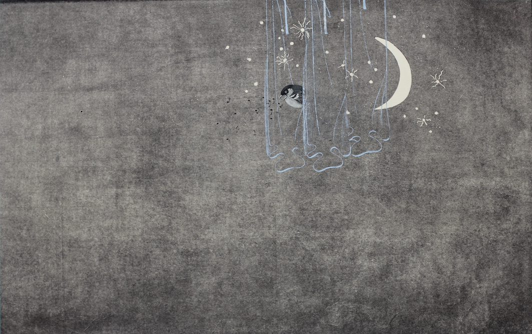 Moonbird with Curtains, 2013, Oil, ink, crayon and monoprint on paper laid on canvas, 29 x 48 inches. Private Collection San Francisco..