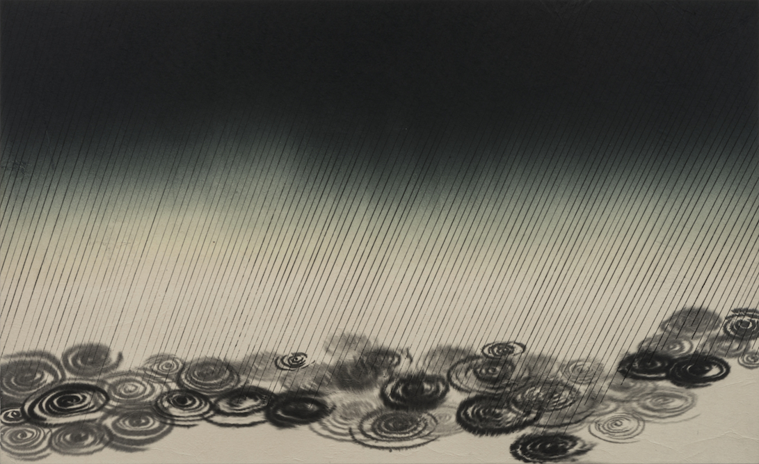 Storm (Horizontal), 2013, Ink and monoprint on paper laid on canvas, 30 x 49 inches. Private Collection Los Angeles.