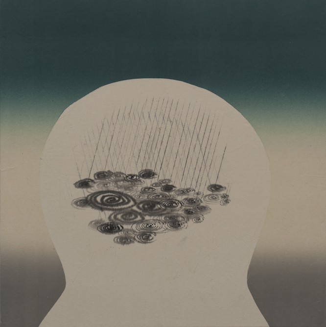 Head with Storm, 2012, Ink and monoprint on paper laid on canvas, 24 x 24 inches. Private Collection San Francisco.