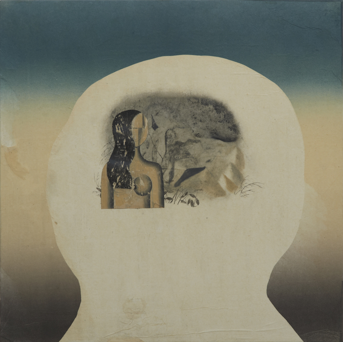 Head with Woman and Mountain, 2011, oil, charcoal, ink, graphite, xerox transfer, monoprint and collage on paper laid on canvas, 24 x 24 inches