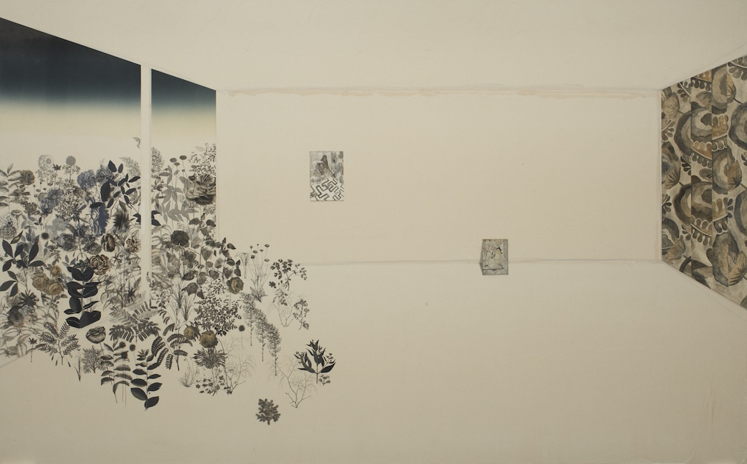 Interior with Garden, 2011, Oil, charcoal, ink, graphite, xerox transfer, monoprint and collage on paper laid on canvas, 84 x 136 inches