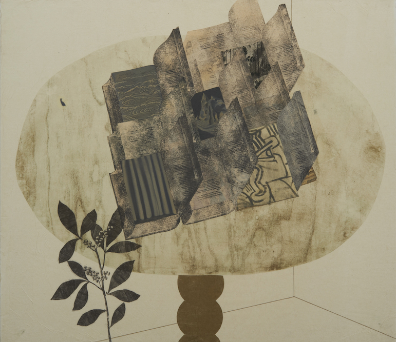 Table with Books, 2011, Oil, charcoal, ink, graphite, xerox transfer, monoprint and collage on paper laid on canvas, 33 x 38 inches