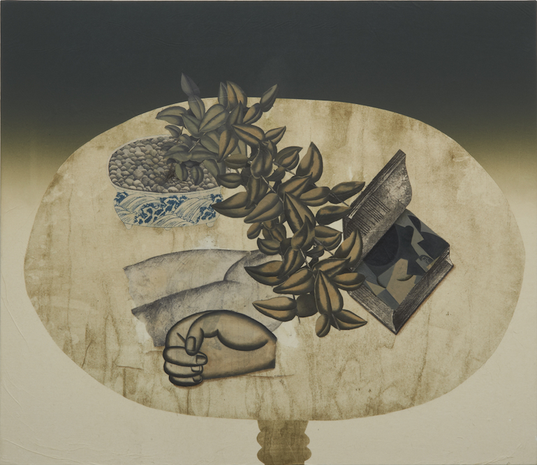 Table with Plant, Book and Statue, 2011, Oil, charcoal, ink, graphite, xerox transfer, monoprint and collage on paper laid on canvas, 33 x 38 inches