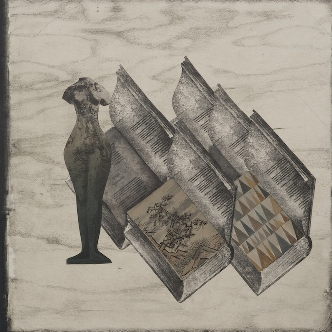 Sculpture with Books, 2011, Oil, charcoal, ink, graphite, xerox transfer, monoprint and collage on paper laid on canvas, 24 x 24 inches. Private Collection Los Angeles.