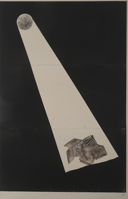 Moon with Books, 2010, Oil, graphite, monoprint and collage on paper laid on canvas, 24 x 24 inches