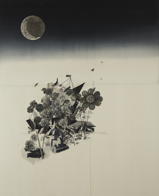 Nocturne with Head and flowers, 2009, Oil, charcoal, graphite, ink, xerox transfer, monoprint and collage on paper laid on canvas, 84 x 68 inches