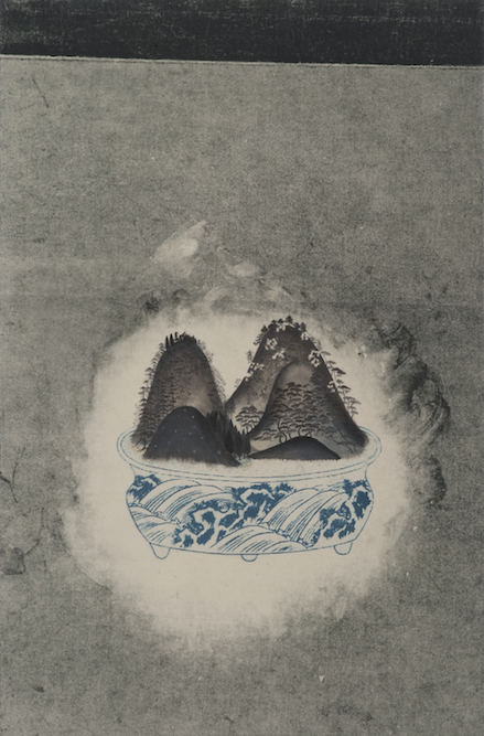 Bonsai, 2009, Oil, graphite and monoprint on paper laid on canvas, 23 1/2 x 15 3/4 inches. Private Collection Los Angeles.