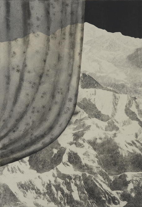 Alpine, 2009, Oil, ink and monoprint on paper laid on canvas, 23 1/2 x 15 3/4 inches. Private Collection Pasadena.