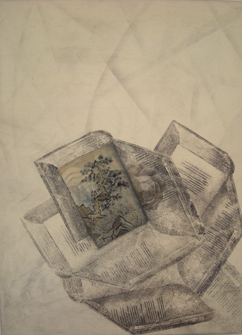 Books with Tree, 2009, Oil, graphite and xerox transfer on paper laid on canvas, 23 1/2 x 15 3/4 inches. Private Collection Los Angeles.