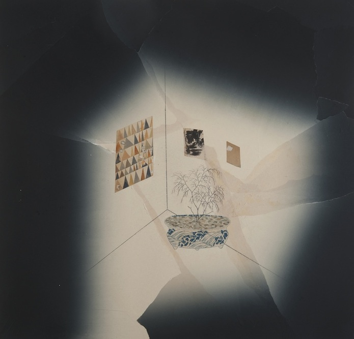 Interior with Paintings and Bonsai, 2009, Oil, ink, pastel, collage and monoprint on paper laid on canvas, 44 x 44 inches. Private Collection Los Angeles.