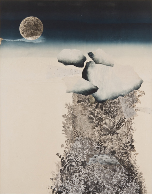 Sculpture Garden with Clouds, 2008, Oil, charcoal, graphite, ink, gouache, gesso, xerox transfer, collage and monoprint on paper laid on canvas, 84 x 67 inches