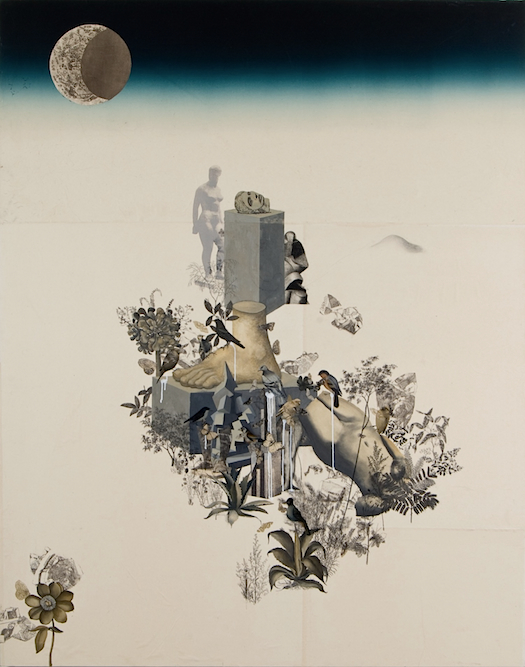 Sculpture Garden with Foot, 2008, Oil, charcoal, graphite, ink, gouache, gesso, xerox transfer, collage and monoprint on paper laid on canvas, 84 x 67 inches