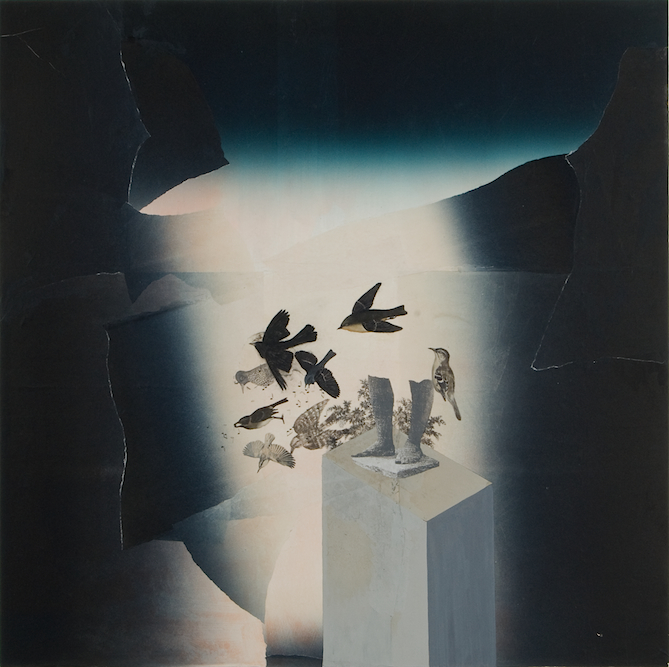 Sculpture with Birds, 2008, Oil, gouache, xerox transfer and monoprint on paper laid on canvas, 44 x 44 inches. Private Collection Filmore, CA.