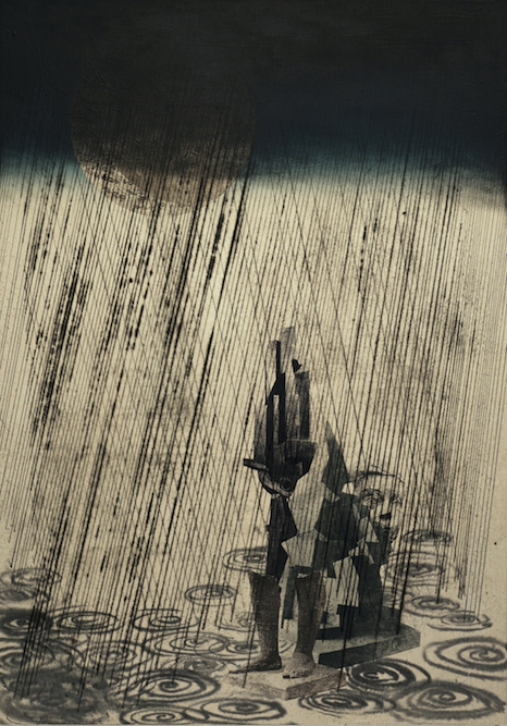 Sculpture Garden with Storm, 2006, Charcoal, graphite, ink, xerox transfer and monoprint on paper laid on canvas, 40x 28 inches. Private Collection Los Angeles.