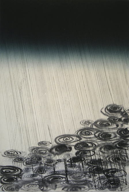 Storm, 2007, Ink and monoprint on paper laid on canvas, 40x 27 inches. Private Collection San Francisco.