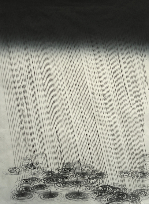Storm #2, 2007, Ink and monoprint on paper laid on canvas, 40 x 27 inches. Private Collection San Francisco.