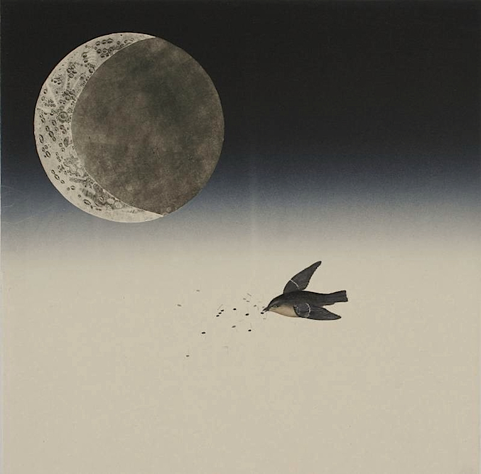 Moonbird, 2006, Oil, ink and monoprint on paper laid on canvas, 24 x 24 inches. Private Collection San Francisco.