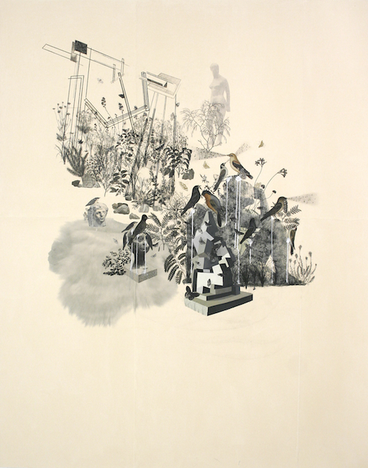 Sculpture Garden, 2006, Charcoal, graphite, ink, gouache, xerox transfer, collage and monoprint on paper laid on canvas, 84 x 68 inches. Private Collection New York.