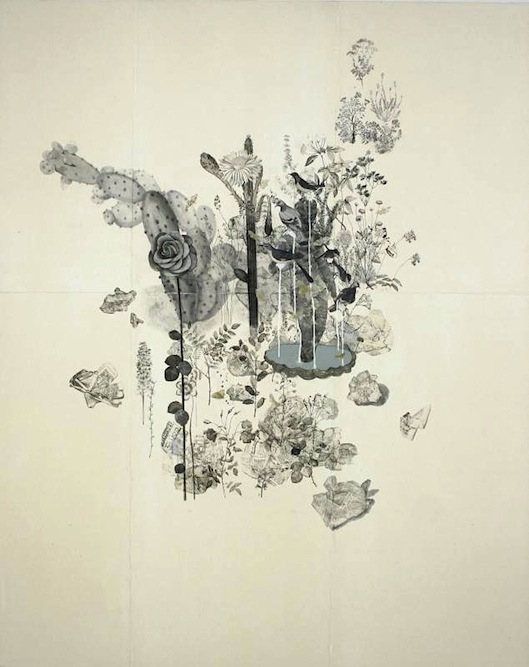 Garden with Fountain, 2005, Charcoal, graphite, ink, gouache, xerox transfer, collage and monoprint on paper laid on canvas, 84 x 68 inches. Private Collection New York.