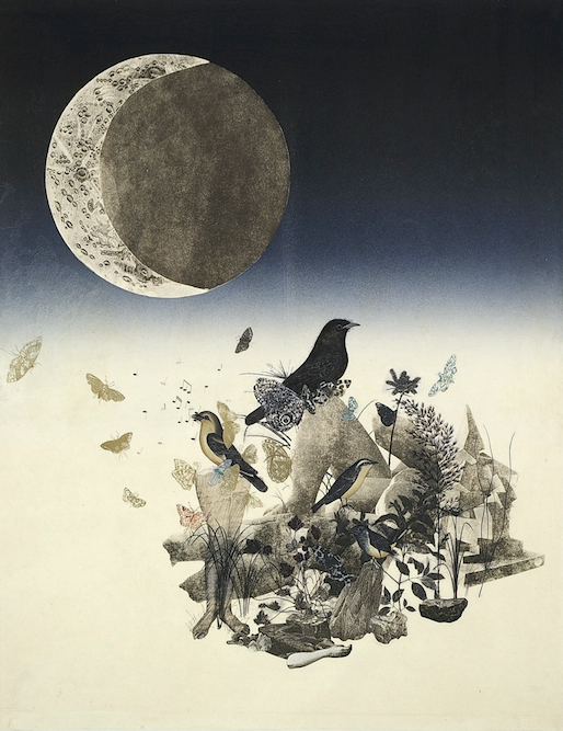 Sculpture Garden with Moon, 2006, Charcoal, graphite, ink, xerox transfer, collage and monoprint on paper laid on canvas, 35 x 24 inches. Collection of Progressive Corporation.
