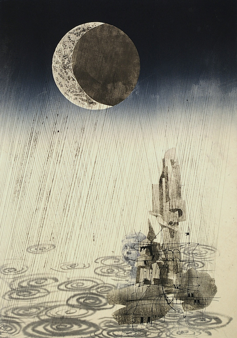 Sculptures with Rain, 2006, Ink, xerox transfer and monoprint on paper laid on canvas, 40 x 28 inches. Private Collection New York.