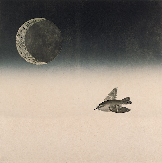 Moonbird, 2005, Ink and monoprint on paper laid on canvas, 24 x 24 inches. Private Collection San Francisco.