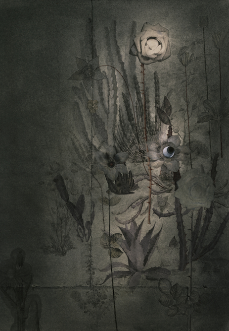Nocturne, 2004, Charcoal, graphite, watercolor, ink, oil on paper laid on canvas, 44 x 31 inches. Private Collection Los Angeles.