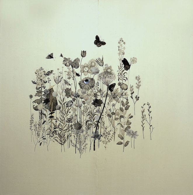 Wildflower with Butterflies, 2003, Charcoal, graphite, xerox transfer, oil and collage on paper laid on canvas, 44 x 44 inches. Private Collection New York.