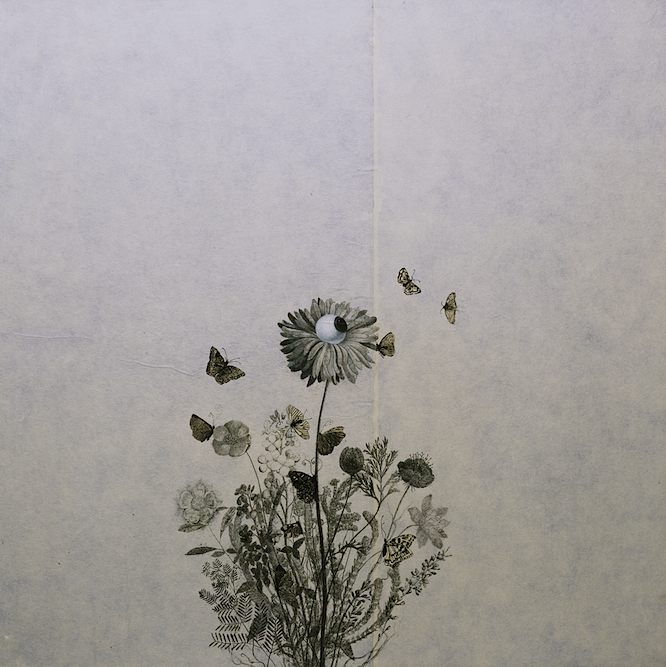 Wildflower with Butterflies, 2003, Charcoal, graphite, xerox transfer, oil and collage on paper laid on canvas 24 x 24 inches. Private Collection Los Angeles.