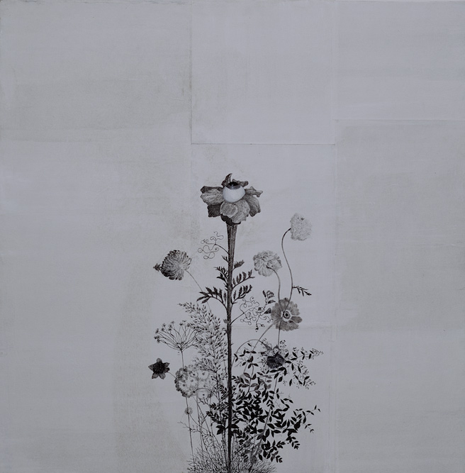 Wildflower, 2002, Charcoal, graphite, ink, watercolor, xerox transfer and oil on paper laid on canvas, 24 x 24 inches