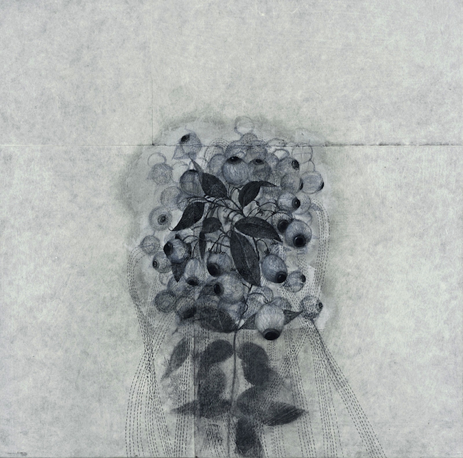 Bloom, 2000, Charcoal, graphite, ink, watercolor, xerox transfer and oil on paper laid on canvas, 24 x 24 inches. Private Collection Toronto.