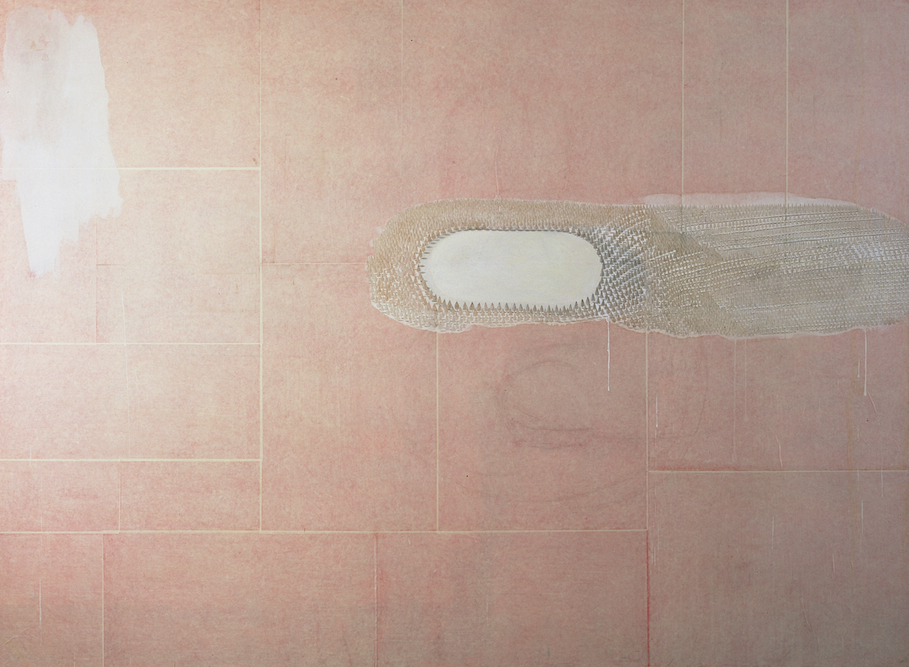 Pink Pool, 2001, Silverpoint, oil and watercolor on paper laid on canvas, 96 x 139 inches