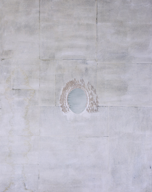 Pool, 1999, Silverpoint, watercolor and oil on paper laid on canvas, 84 x 68 inches. Private Collection Los Angeles.
