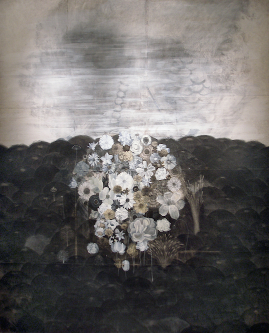 White Garden, 2001, Charcoal, graphite, watercolor, oil, ink and xerox transfer on paper laid on canvas, 84 x 68 inches