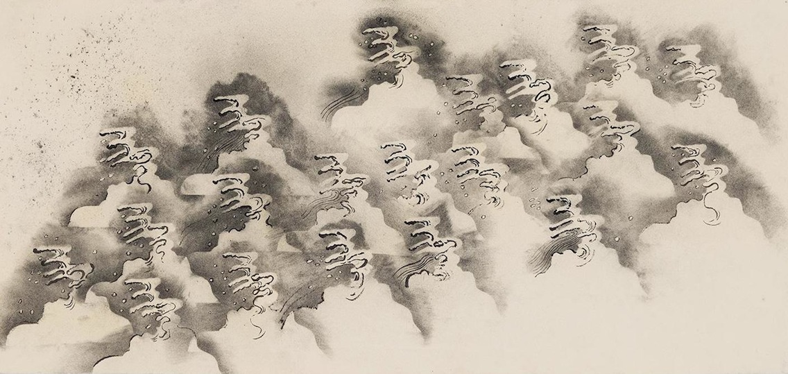 Waves I, 2014. Charcoal and ink on paper 10.5 x 22 inches