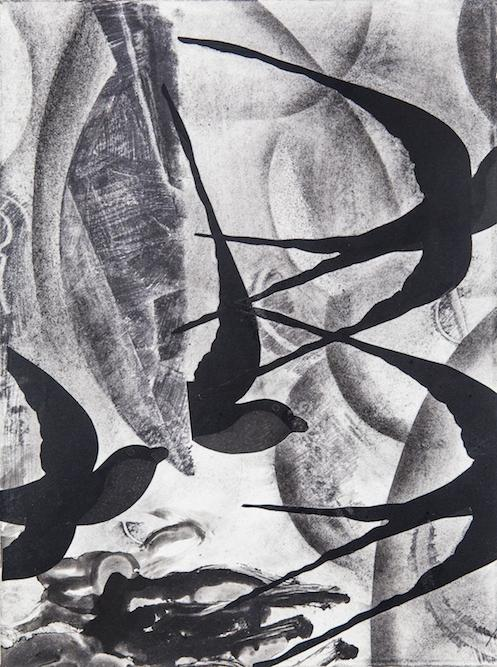 Swallows with Clouds, 2014 charcoal, graphite and xerox transfer on paper, 15 1/4 x 11 1/4 inches