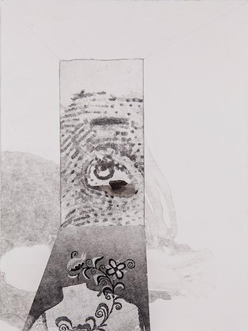 Eye, 2014 monoprint, etching and collage on paper, 15 x 11 inches